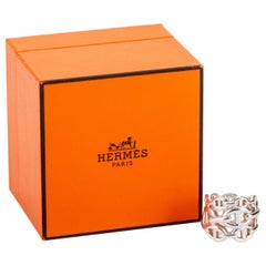 Hermes Sterling Chain D'Ancre Ring with Box Size 54