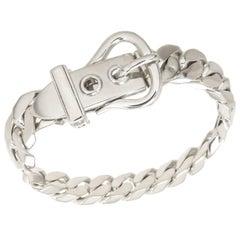 Hermes Sterling Curb Link Buckle Bracelet