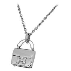 Hermes Sterling Silver Amulet Constance Bag Motif Pendant Necklace