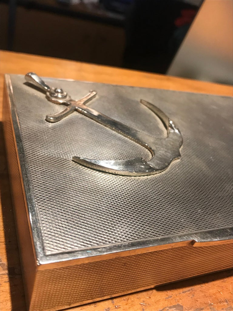 French Hermes Sterling Silver Anchor Box For Sale
