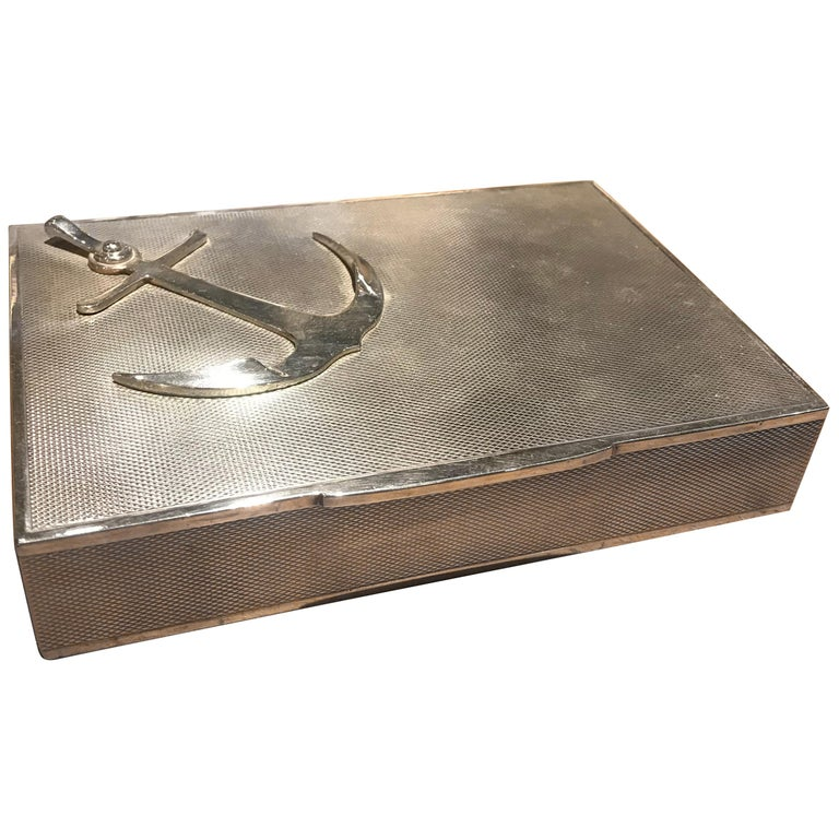 Hermes Sterling Silver Anchor Box For Sale
