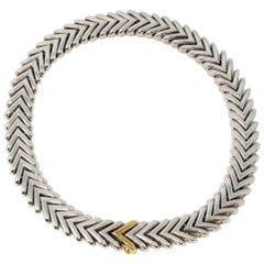 Hermes Sterling Silver and 18 Karat Yellow Gold Chevron Link Necklace 392 Grams