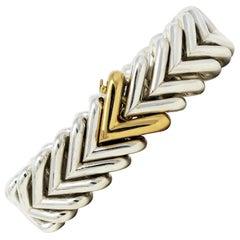 Hermes Sterling Silver and 18 Karat Yellow Gold Heavy Chevron Link Bracelet
