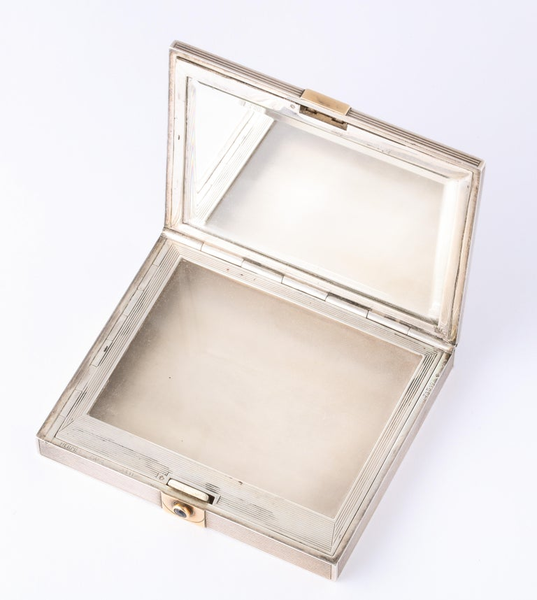 Art Deco Hermès Sterling Silver and Gold Compact with Bezel and Baguette Sapphires For Sale