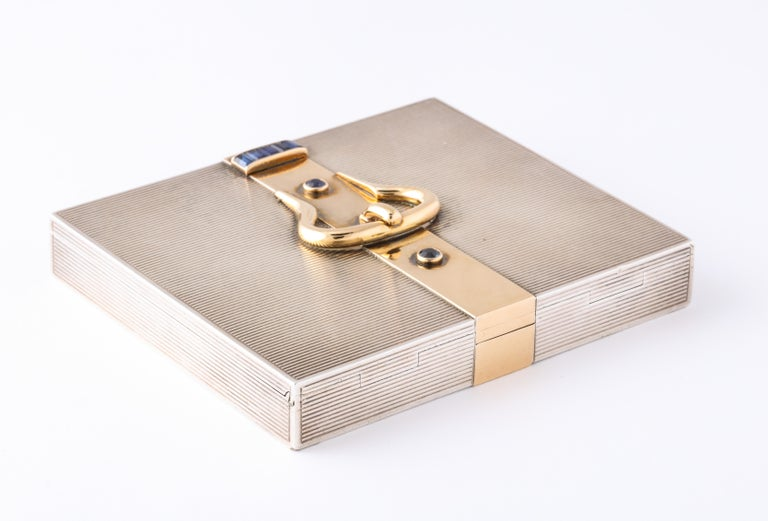 Hermès Sterling Silver and Gold Compact with Bezel and Baguette Sapphires For Sale 1