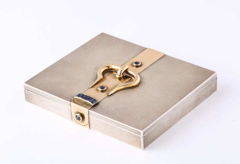 Hermès Sterling Silver and Gold Compact with Bezel and Baguette Sapphires For Sale 2