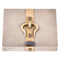Hermès Sterling Silver and Gold Compact with Bezel and Baguette Sapphires
