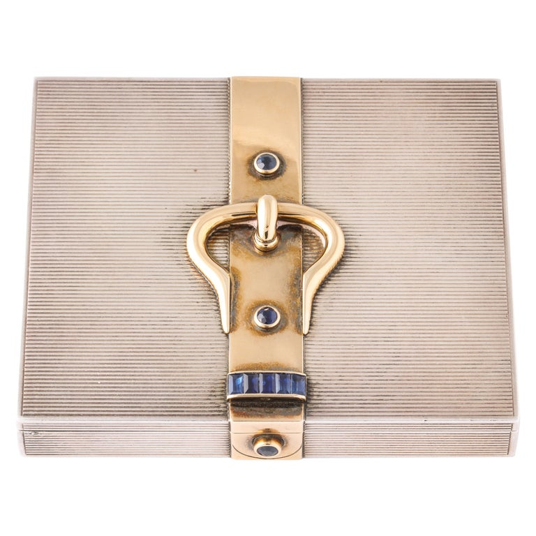 Hermès Sterling Silver and Gold Compact with Bezel and Baguette Sapphires For Sale
