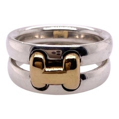 Hermes Sterling Silver and Gold Ring