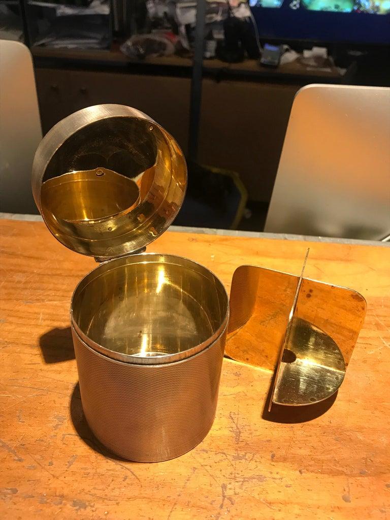 Modern Hermès Sterling Silver Cylinder Box For Sale