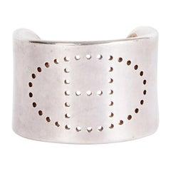 HERMES sterling silver ECLIPSE H Cuff Bracelet SM