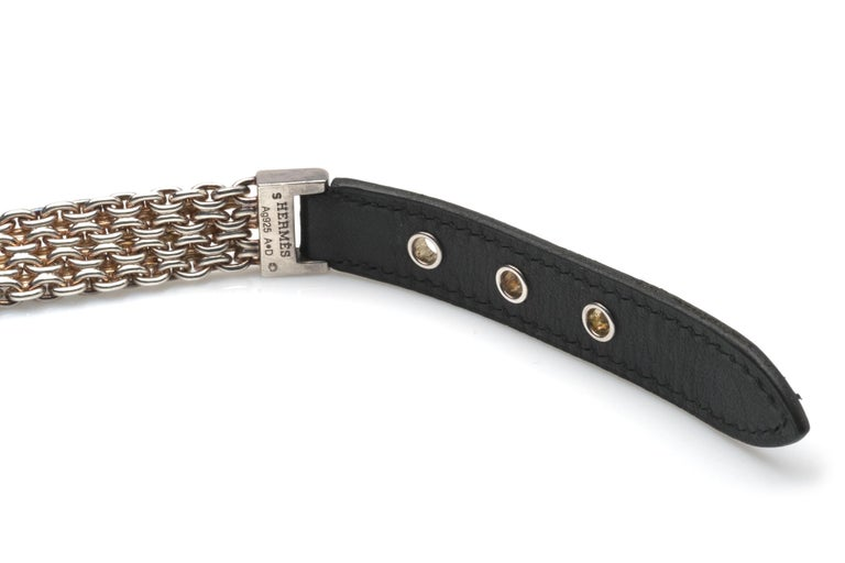 Modern Hermes Sterling Silver and Leather Bracelet For Sale