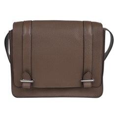 Hermes Steve Caporal Messenger 28 Bag Etoupe Clemence Leather Palladium