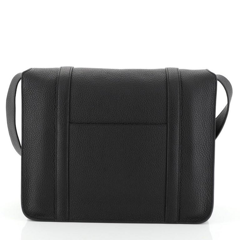 Black Hermes Steve Messenger Bag Clemence 35 For Sale