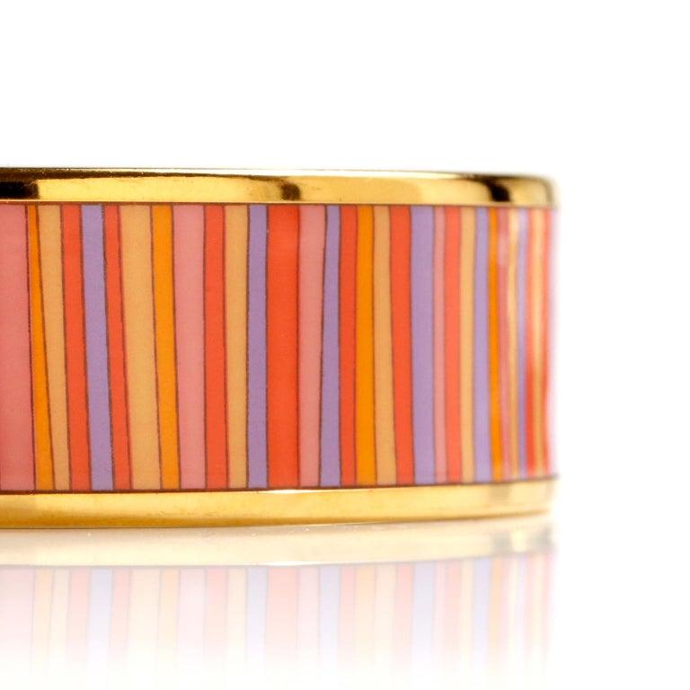 Hermès Striped Enamel Bracelet In Good Condition For Sale In Palm Beach, FL