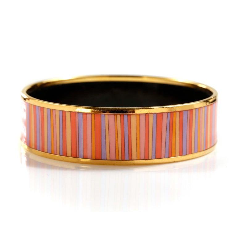 Women's Hermès Striped Enamel Bracelet For Sale