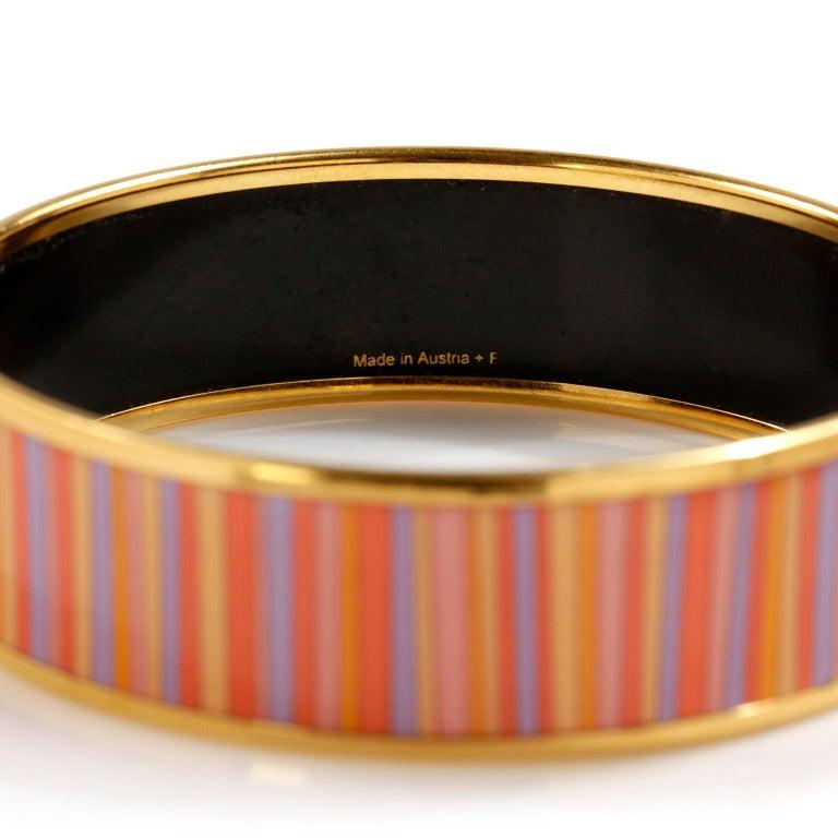 Hermès Striped Enamel Bracelet For Sale 1
