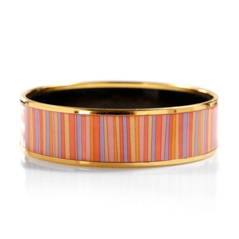 Hermès Striped Enamel Bracelet For Sale 2