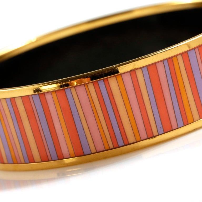 Hermès Striped Enamel Bracelet For Sale 3