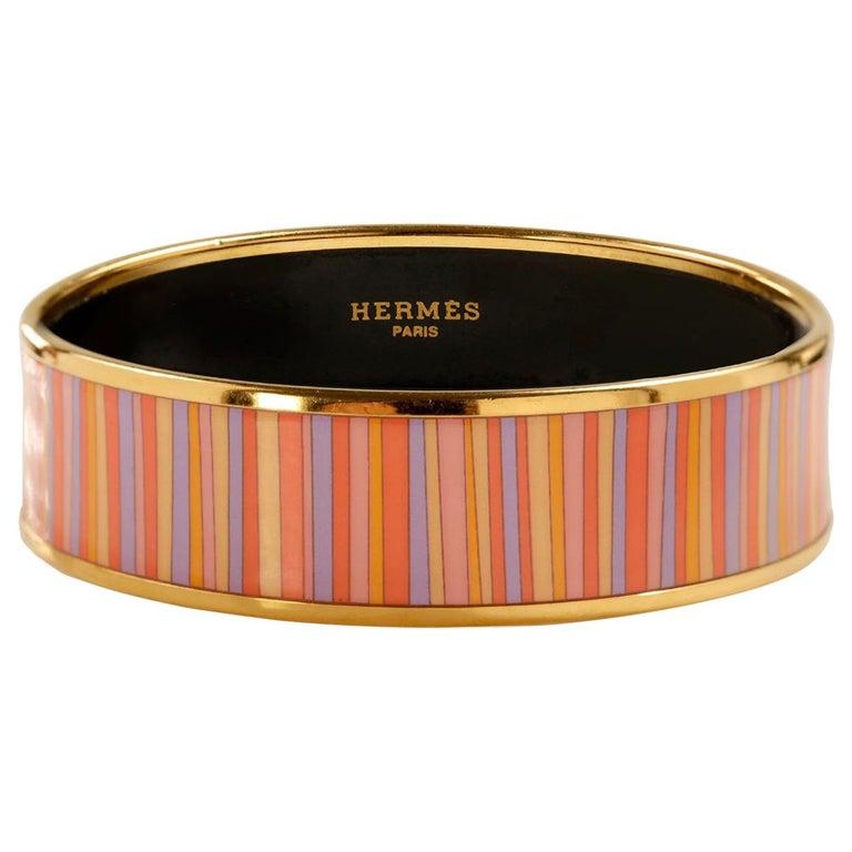 Hermès Striped Enamel Bracelet For Sale