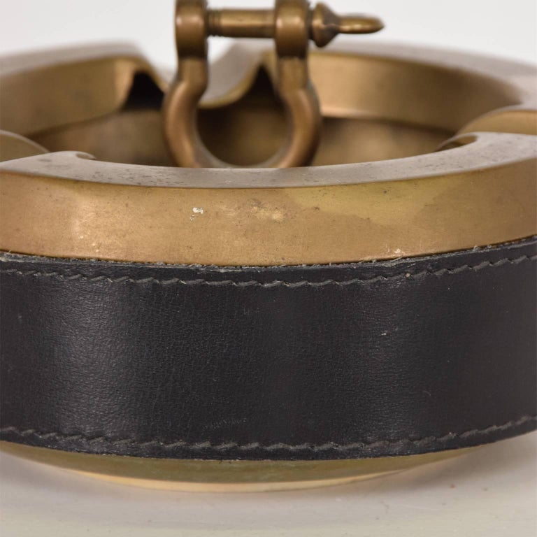 Italian Hermes Style Brass and Leather Ashtray, Italy, 1960s For Sale