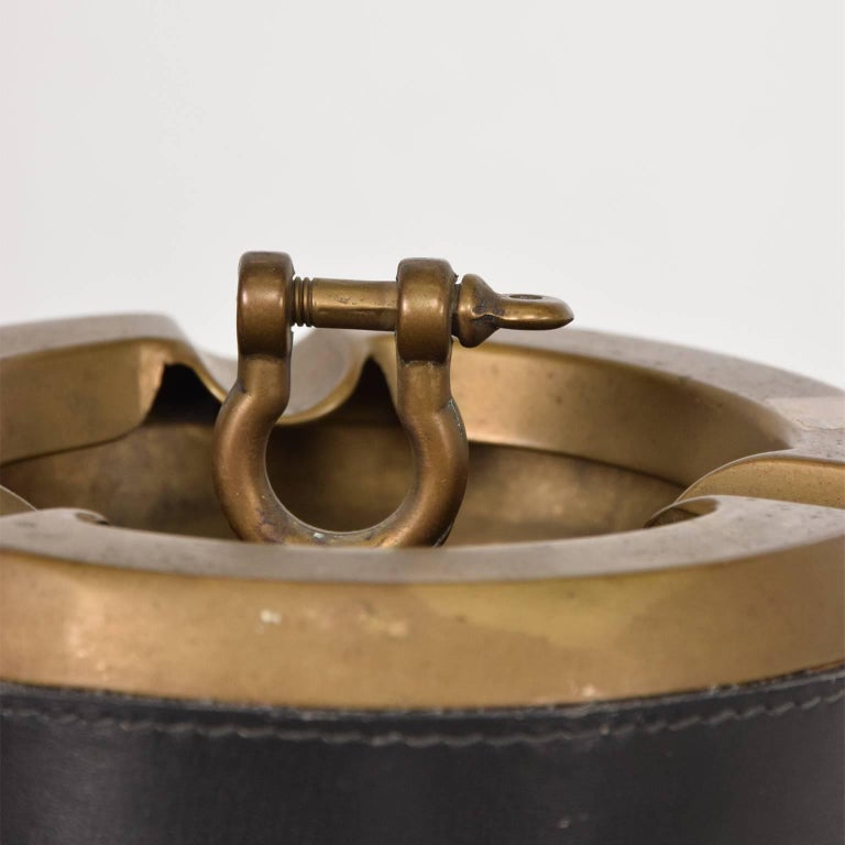 Hermes Style Brass and Leather Ashtray, Italy, 1960s In Good Condition For Sale In National City, CA