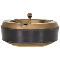 Hermes Style Brass and Leather Ashtray, Italy, 1960s