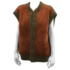 Hermes Suede and Heather Knit Vest