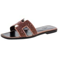 Hermes Suede Leather Pearl Embellished Oran Flat Slides Size 37