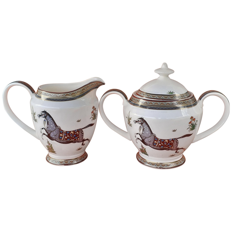 Hermès Sugar Bowl and Milk Jug Cheval D'Orient Horse Pattern in Porcelain