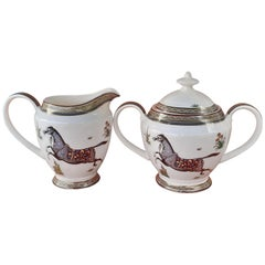 Hermès Sugar Bowl and Milk Jug Cheval D'Orient Horse Pattern in Porcelain