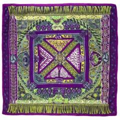 Hermes Sur Un Tapis Volant Purple, Blue & Green Cashmere & Silk  Scarf