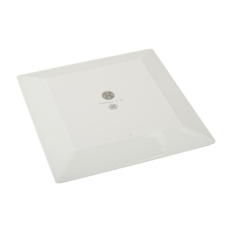 Hermes Sushi Plate Mosaique au 24 Platinum Square Model Porcelain For Sale 3