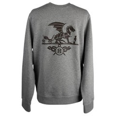 Hermes Sweater Ex-Libris Dragon Gris w/ Lambskin Patch Crewneck L