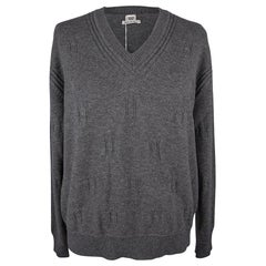Hermes Sweater Voyage Wide V-Neck Gris Anthracite 40 / 6 New w/Pouch