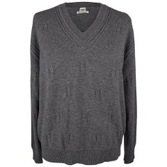 Hermes Sweater Voyage Wide V-Neck Gris Anthracite 42 / 8 New w/Pouch