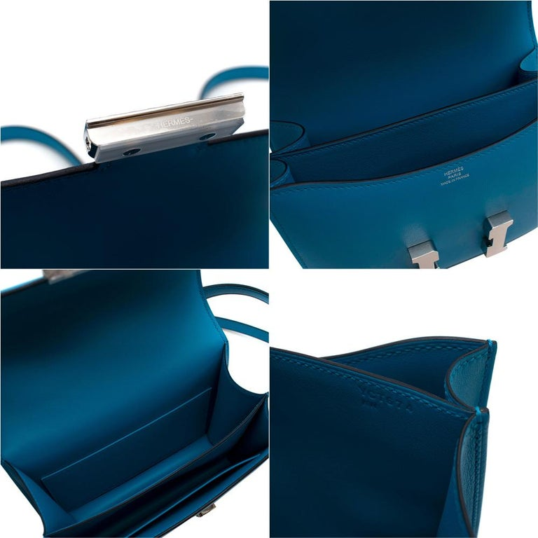 Hermes Swift Leather Blue Frida Constance 18 PHW For Sale 6