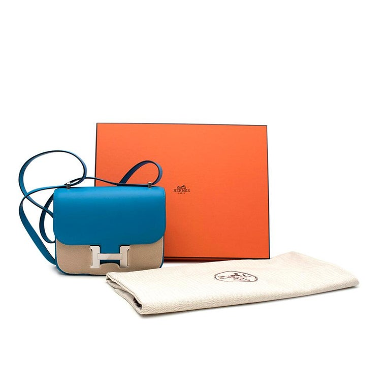 Hermes Constance 18cm Blue Frida Swift Leather Bag with Palladium Hardware  - Brand new  - Y Stamp - 18 - 14.5 x 4 cm - Includes Box, dust bag and receipt