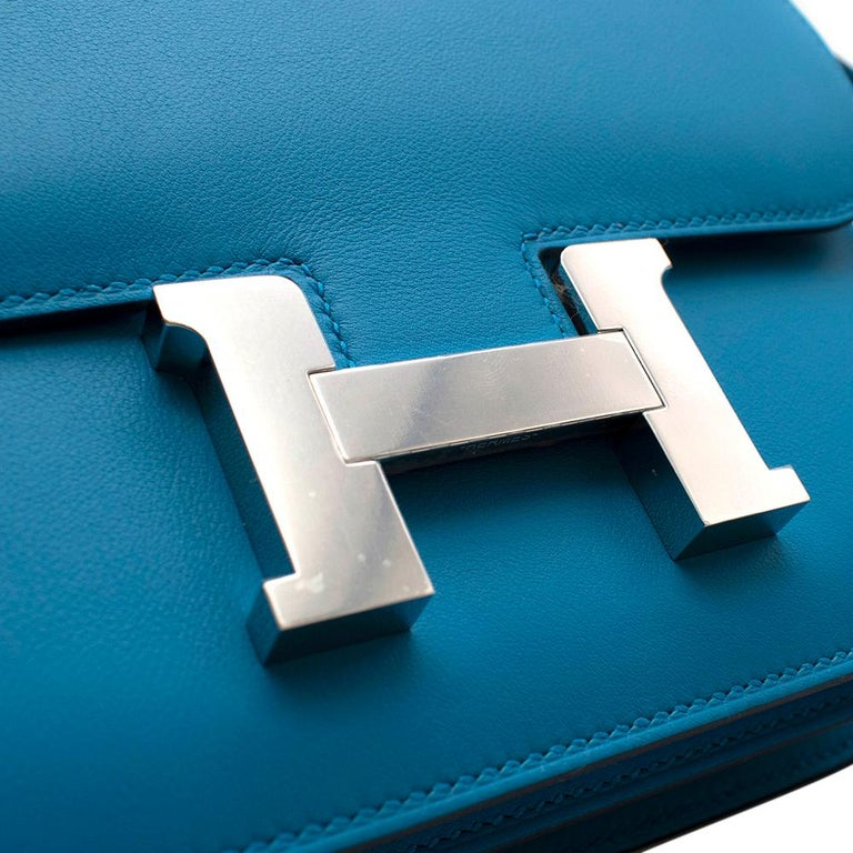 Hermes Swift Leather Blue Frida Constance 18 PHW For Sale 3