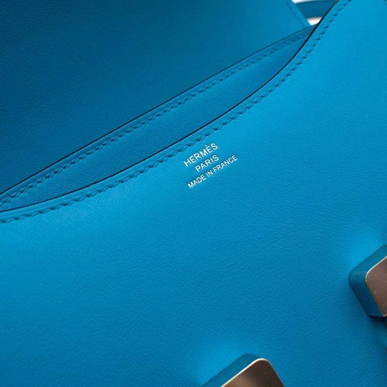 Hermes Swift Leather Blue Frida Constance 18 PHW For Sale 5