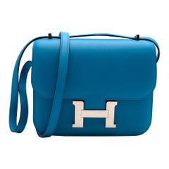 Hermes Swift Leather Blue Frida Constance 18 PHW