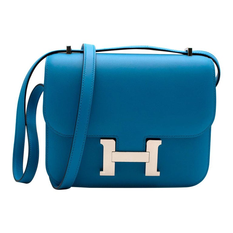 Hermes Swift Leather Blue Frida Constance 18 PHW For Sale
