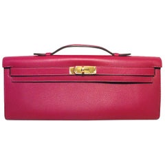 Hermes Swift Leather Rose Fuchsia Pink Kelly Cut Clutch Handbag