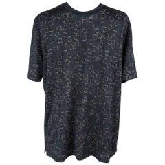 Hermes T-Shirt Men's Etriers Stirrup Print Bleu Nuit Cotton L nwt