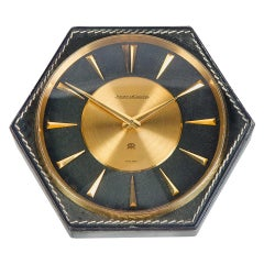 Hermès Table Clock Jeager-LeCoultre Hand Stitched Leather, 1964