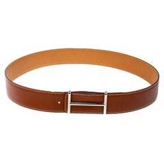 Hermes Tan/Brown Box and Togo Leather Idem Reversible Belt 90CM