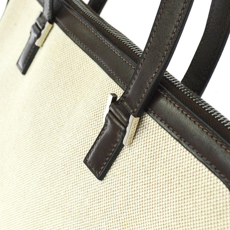 Beige Hermes Tan Brown Canvas Carryall Bowling Evening Top Handle Satchel Tote Bag  For Sale