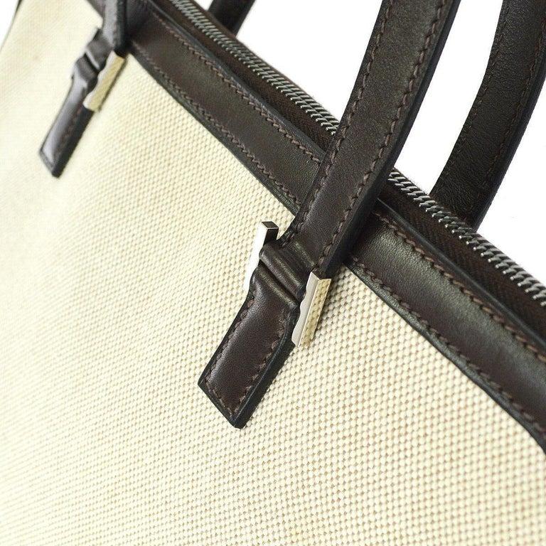 Beige Hermes Tan Brown Canvas Carryall Bowling Evening Top Handle Satchel Tote Bag