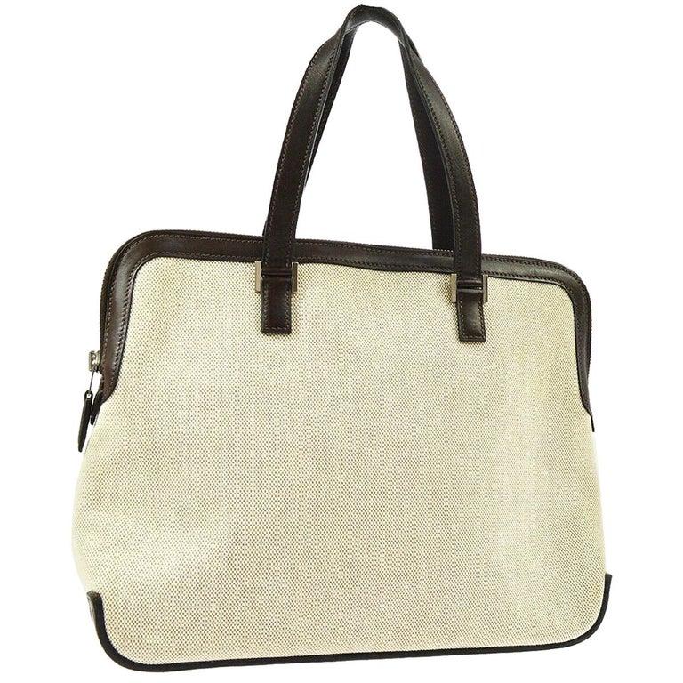 Hermes Tan Brown Canvas Carryall Bowling Evening Top Handle Satchel Tote Bag