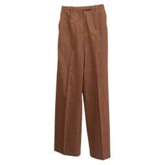 HERMES tan brown wool HIGH-WAISTED Pants 34 XXS